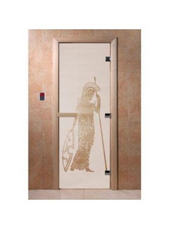 """Дверь для бани """"Рим"""" стекло сатиновое коробка ольха 70х190см"""