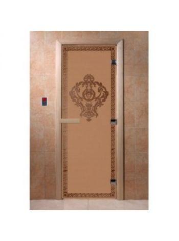 """Дверь для бани """"Версаче"""" стекло бронза матовая коробка ольха 70х190см"""
