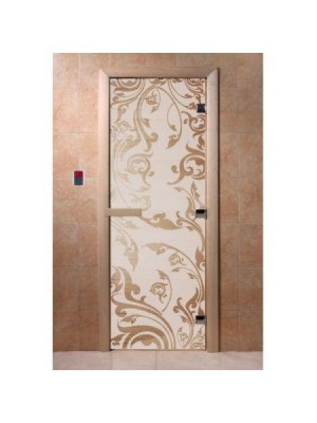 """Дверь для бани """"Венеция"""" стекло сатиновое коробка ольха 70х190см"""