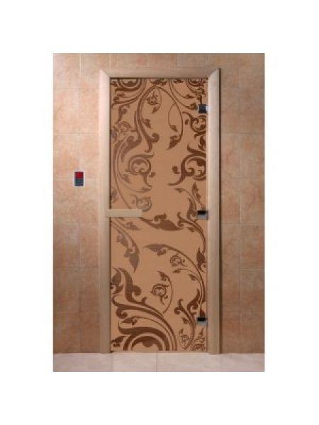 """Дверь для бани """"Венеция"""" стекло бронза матовая коробка ольха 70х190см"""