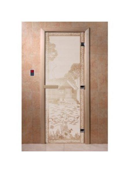 """Дверь для бани """"Банька в лесу"""" стекло сатиновое коробка ольха 70х190см"""