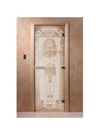 """Дверь для бани """"Египет"""" стекло сатиновая коробка ольха 70х190см"""