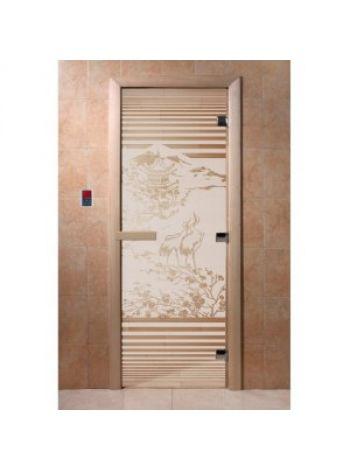 """Дверь для бани """"Япония"""" стекло сатиновое коробка ольха 70х190см"""