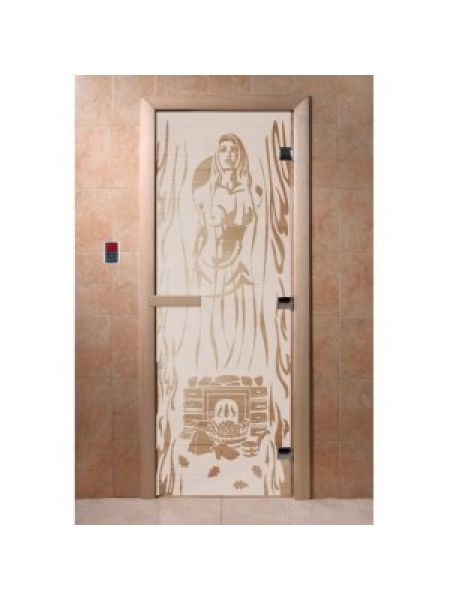 """Дверь для бани """"Горячий пар"""" стекло сатиновое коробка ольха 70х190см"""