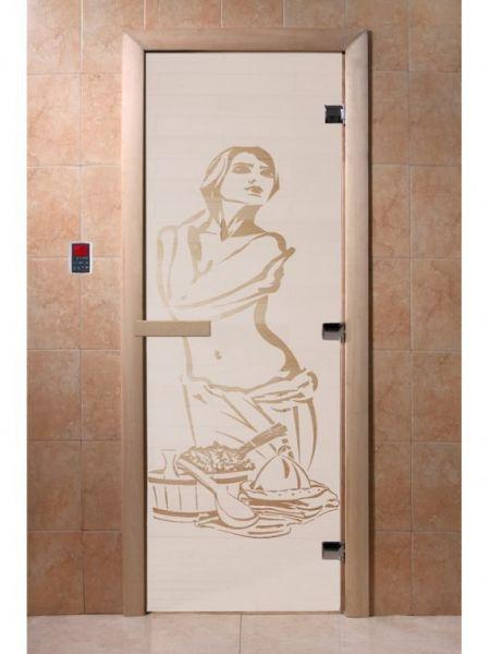 """Дверь для бани """"Искушение"""" стекло сатиновое коробка ольха 70х190см"""