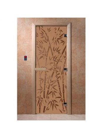 """Дверь для бани """"Бамбук и бабочки"""" стекло бронза матовая коробка ольха 70х190см"""