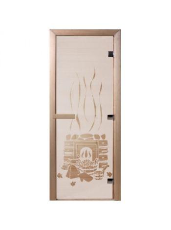 """Дверь для бани """"Банька"""" стекло сатиновое коробка ольха 70х190см"""
