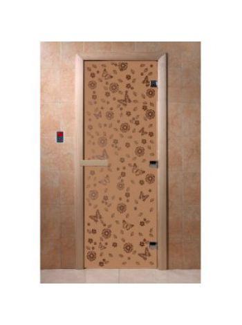"""Дверь для бани """"Цветы и бабочки"""" стекло матовая коробка ольха 70х190см"""