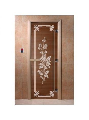 """Дверь для бани """"Розы"""" стекло бронза прозрачное коробка ольха 70х190см"""
