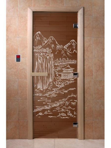"""Дверь для бани """"Восток"""" стекло бронза прозрачное коробка ольха 70х190см"""
