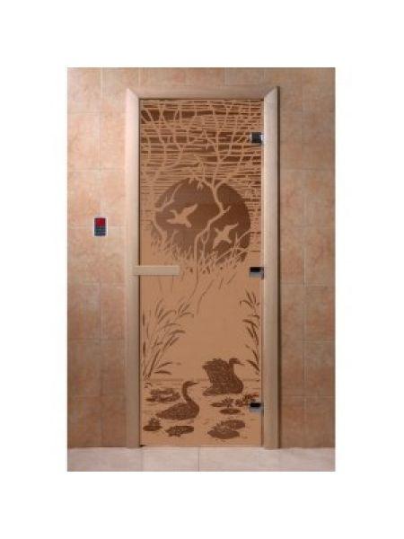 """Дверь для бани """"Лебединое озеро"""" стекло бронза матовая коробка ольха 70х190см"""