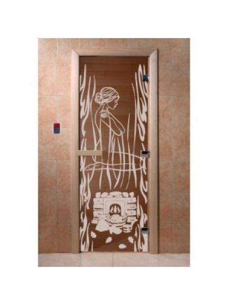 """Дверь для бани """"Волшебный пар"""" стекло бронза прозрачное коробка ольха 70х190см"""