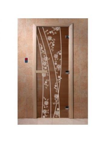 """Дверь для бани """"Весна цветы"""" стекло бронза прозрачная коробка ольха 70х190см"""