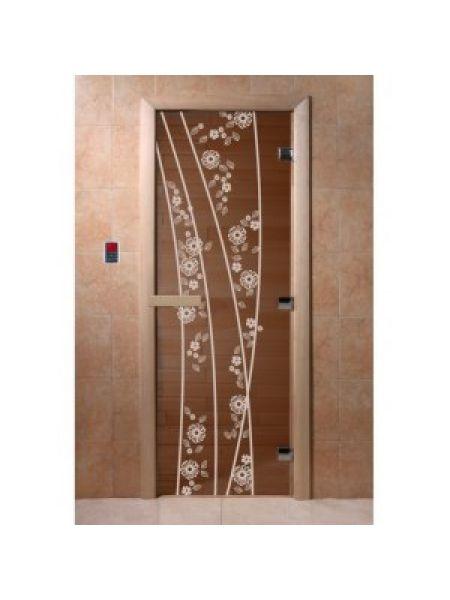 """Дверь для бани """"Весна цветы"""" стекло бронза прозрачное коробка ольха 70х190см"""