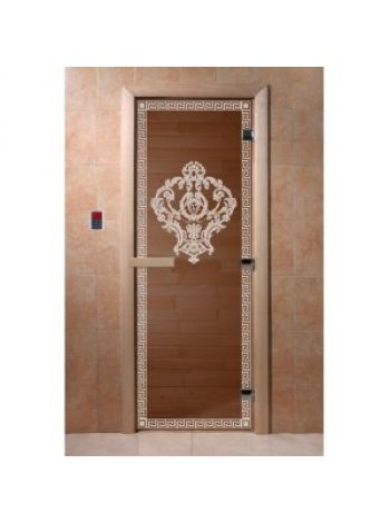 """Дверь для бани """"Версаче"""" стекло бронза прозрачная коробка ольха 70х190см"""