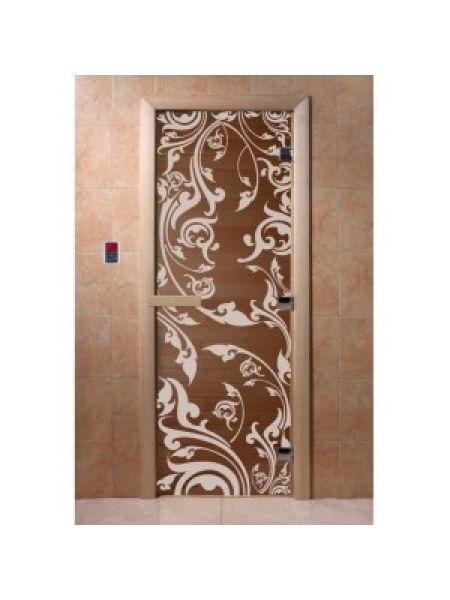 """Дверь для бани """"Венеция"""" стекло бронза прозрачное коробка ольха 70х190см"""