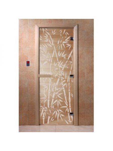 """Дверь для бани """"Бамбук и бабочки"""" стекло прозрачная коробка ольха 70х190см"""