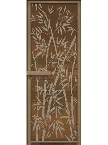 """Дверь для бани """"Бамбук и бабочки"""" стекло бронза прозрачная коробка ольха 70х190см"""