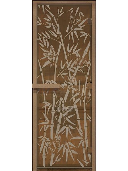 """Дверь для бани """"Бамбук и бабочки"""" стекло бронза прозрачное коробка ольха 70х190см"""