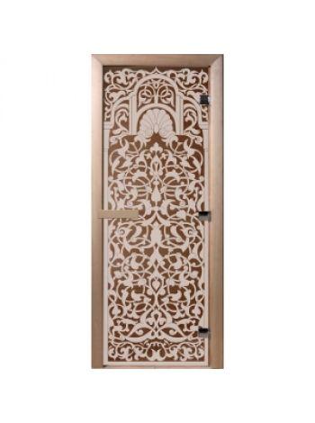 """Дверь для бани """"Флоренция"""" стекло бронза прозрачная коробка ольха 70х190см"""