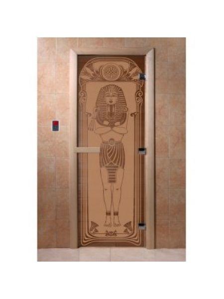 """Дверь для бани """"Египет"""" стекло бронза матовая коробка ольха 70х190см"""
