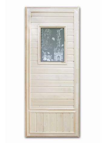 """Дверь для бани """"Девушка в баньке"""" эконом со стеклом 185х75см DW06"""