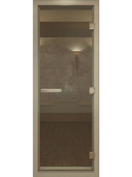 Дверь для турецкой бани хамам 70х200см бронза прозрачная