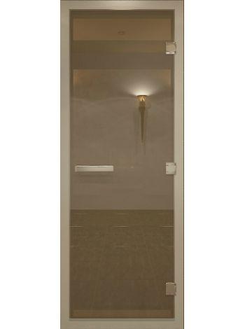"""Дверь для бани """"Бронза матовая Alum"""" для хамама  стекло бронза матовая 70х200см"""