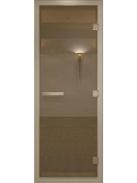 """Дверь для бани """"Бронза матовая Alum""""  для хамама  стекло бронза матовая 80х200см"""