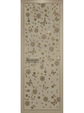 Дверь для турецкой бани хамам 70х190см цветы и бабочки  бронза матовая