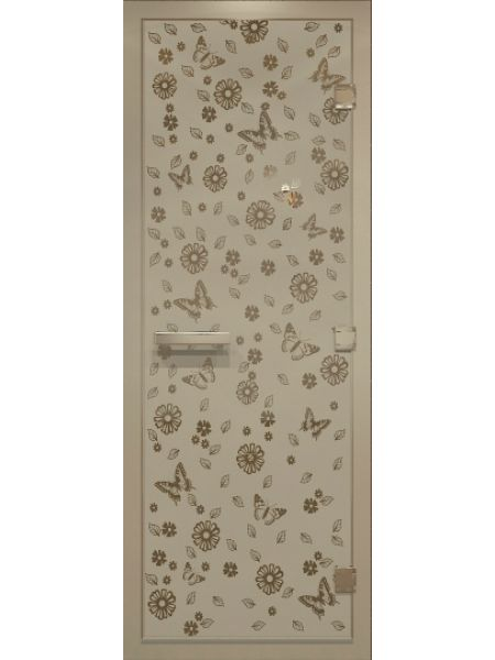 """Дверь для бани """"Цветы и бабочки Alum"""" для хамама стекло бронза матовая 70х190см"""