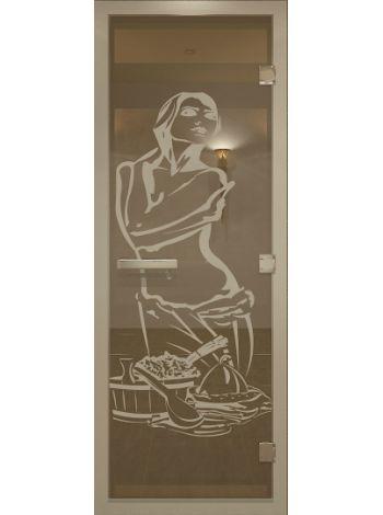 """Дверь в хамам 70х190 см """"Искушение"""" бронза прозрачная коробка алюминий"""