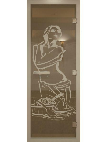 """Дверь для бани """"Искушение Alum"""" для хамама стекло бронза 70х190см"""