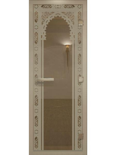 """Дверь для бани """"Восточная арка Alum"""" для хамама стекло бронза 70х190см"""