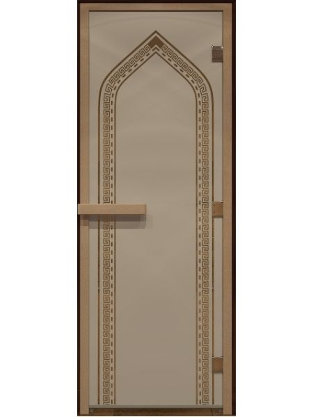 """Дверь для бани стекло """"Арка"""" бронза матовая 70х190см"""