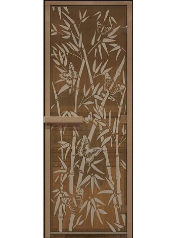 """Дверь для бани стекло """"Бабочки"""" бронза прозрачная"""