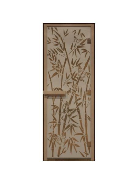 """Дверь для бани стекло """"Бабочки"""" бронза прозрачная 70х190см"""