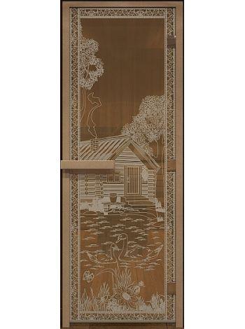 """Дверь для бани """"Банька в лесу"""" бронза матовая 70х190см"""