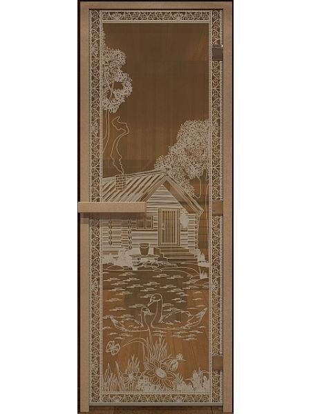 """Дверь для бани """"Банька в лесу"""" бронза прозрачная 70х190см"""