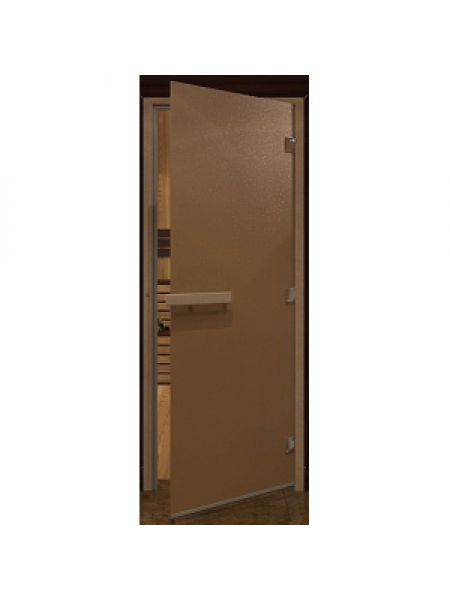 Стеклянная дверь  для бани бронза матовая , 70х190см короба осина