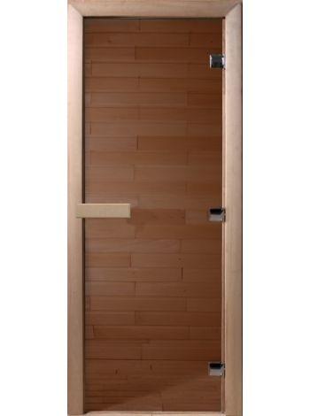 Стеклянная дверь для бани Бронза прозрачная 70х190см, коробка осина