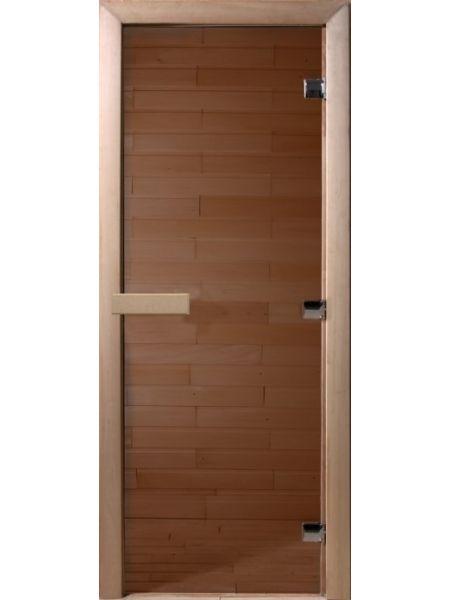 """Дверь для бани """"Теплый день""""70х190см, стекло бронза прозрачная коробка хвоя"""