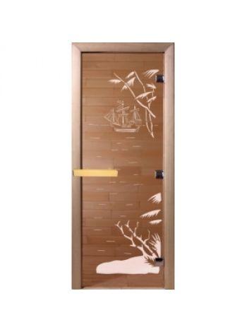 """Дверь для бани """"Голубая лагуна"""" бронза прозрачная 70х190 см"""
