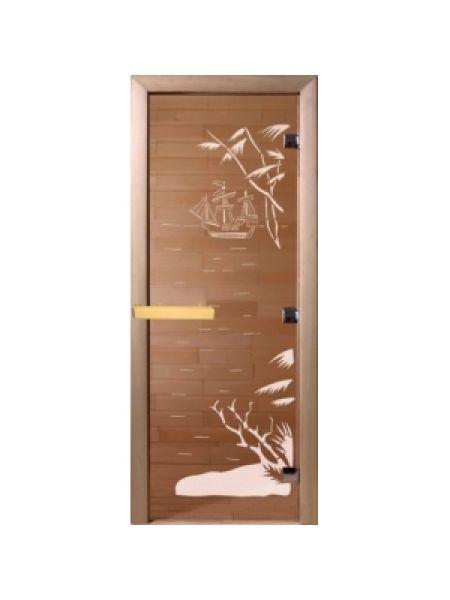 """Дверь для бани """"Голубая лагуна"""" бронза матовая 70х190 см"""