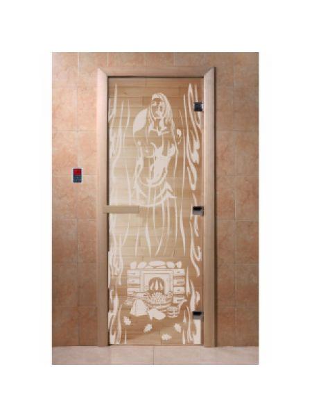 """Дверь для бани """"Горячий пар"""" бронза прозрачная 190х70см"""