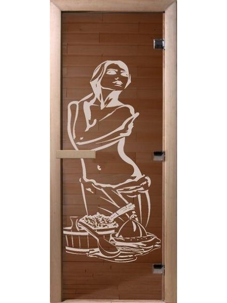 """Дверь для бани """"Искушение"""" бронза прозрачная 70х190см"""