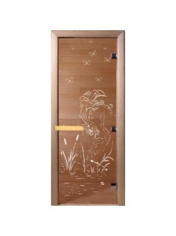 """Дверь для бани """"Камышовый рай"""" бронза прозрачная 70х190см"""