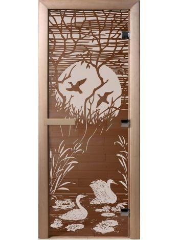 """Дверь для бани """"Лебединое озеро"""" стекло бронза 70х190см DW00047"""