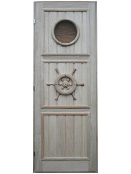 """Дверь для бани кавказская липа с петлями """"Штурвал"""" 190х70"""