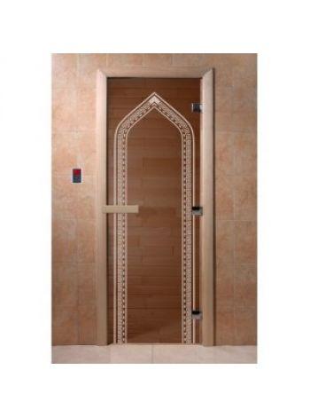 "Дверь для бани ""Арка"" стекло бронза прозрачная коробка ольха 70х190см"
